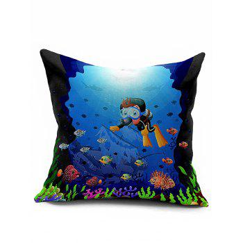 Ocean World Print Sofa Bed Throw Pillow Case