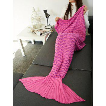 Portable Knitting Wave Stripe Mermaid Tail Design Blanket