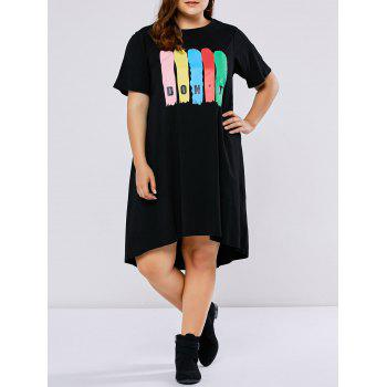 Plus Size Asymmetrical Letter Print Dress