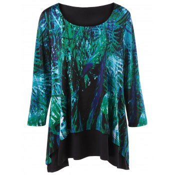 Plus Size Leaf Print T-Shirt