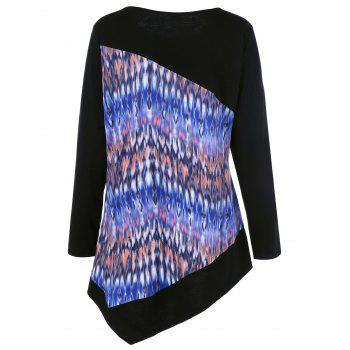 Plus Size Tie-Dye Asymmetric T-Shirt - BLACK XL