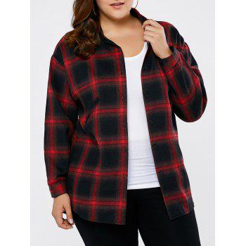 Plus Size Button Up Plaid Shirt