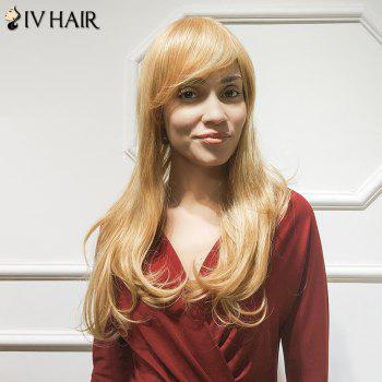 Buy Siv Hair Long Slightly Curled Inclined Bang Human Wig BLONDE