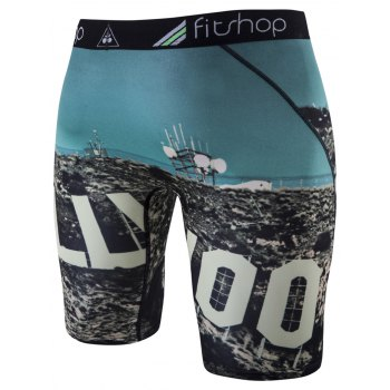 Skinny 3D Print Cycling Shorts - LAKE BLUE XL