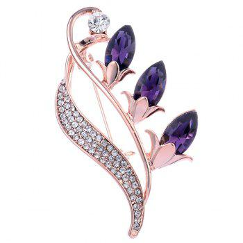 Faux Crystal Flower Bud Shape Brooch