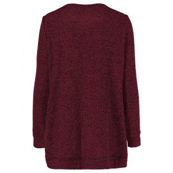 Long Sleeve Plus Size Button Up Overlap Cardigan - DARK RED XL