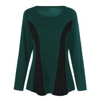 Plus Size Long Sleeves Color Block T-Shirt