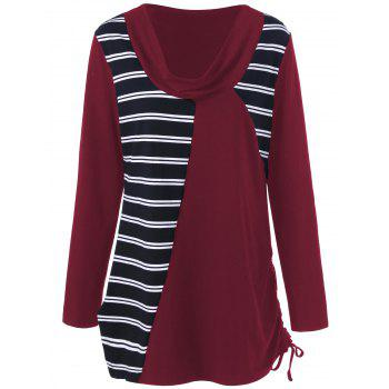 Plus Size Cowl Neck Striped Tunic T-Shirt