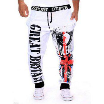 Drawstring Contrast Trim Letter Printed Jogger Pants