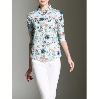 Cat Print Button Up Chiffon Shirt