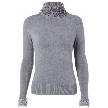 Ruffle Neck Pullover Sweater