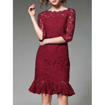 Floral Lace Boat Neck Mermaid Dress