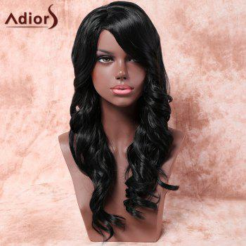 Adiors Long Shaggy Inclined Parting Wavy Synthetic Wig