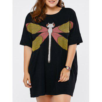 Plus Size Dragonfly Embroidered Dress