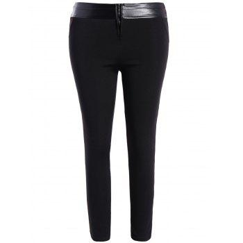 Plus Size Faux Leather Panel Skinny Pants