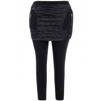 Plus Size Rhombus Zip Embellished Skirted Leggings