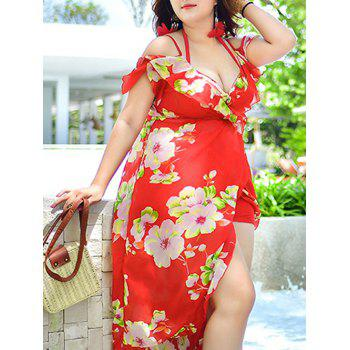 Plus Size Print Underwire Tankini Three Piece Swimwear