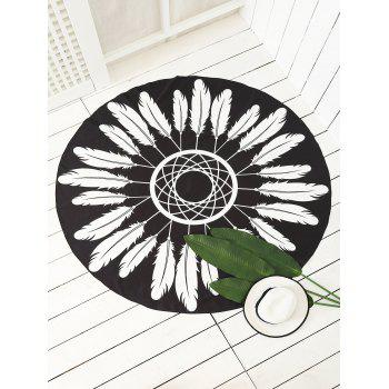 Round Feather Printed Sarong Beach Throw - BLACK ONE SIZE
