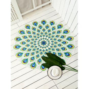Round Peacock Feather Print Mandala Beach Throw
