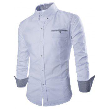 Button Front Stripe Trim Pocket Shirt