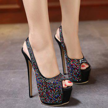 Platform Rhinestone Embellished Peep Toe Shoes