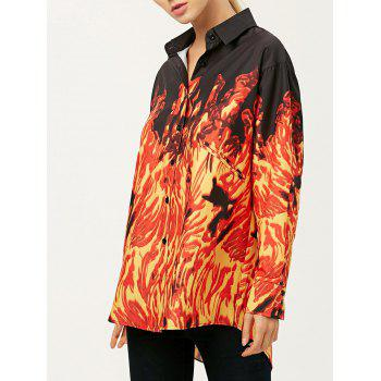 Oversized Printed Long Sleeve Shirt With Fire Print