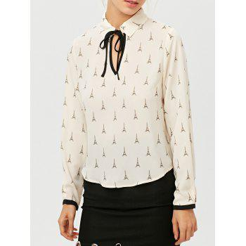 High Low Eiffel Tower Print Blouse