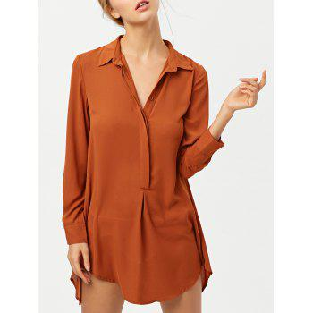Long Sleeve Self Tie Tunic Shirt Dress