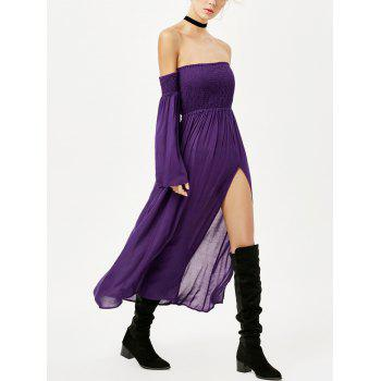 Off Shoulder High Slit Tube Maxi Dress