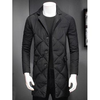 Quilted Button Up Coat with Revere Collar