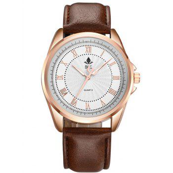 Faux Leather Roman Numerals Waterproof Watch