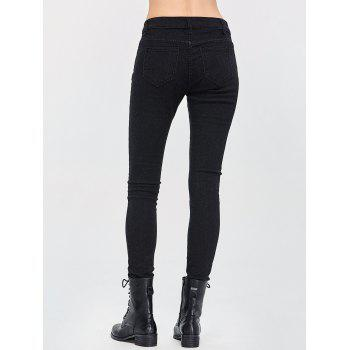Dark Wash Destroyed Pencil Jeans - BLACK M
