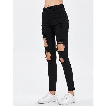 Destroyed Bodycon Jeans - BLACK XL