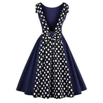 Polka Dot Print Backless Vintage Dress