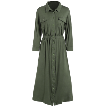 Elastic Waist Midi Shirt Dress