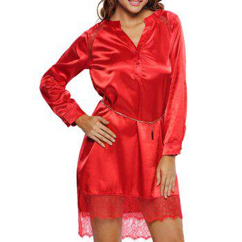 Long Sleeve Lace Satin Belted Dress