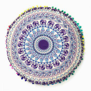 Elephant and Feather Print Pompon Round Floor Cushion Pillow Case