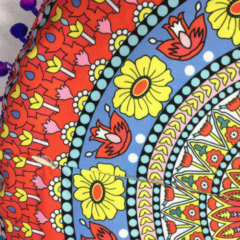 Flower Totem Print Pompon Round Floor Cushion Pillow Case - RED ONE SIZE