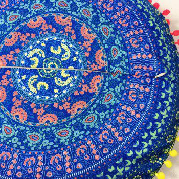 Paisley Tribal Totem Print Pompon Round Floor Cushion Pillow Case - BLUE ONE SIZE