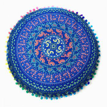 Paisley Tribal Totem Print Pompon Round Floor Cushion Pillow Case