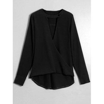 Crossover Long Sleeve Blouse