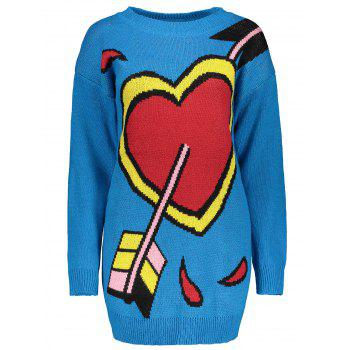 Crew Neck Heart Pattern Knit Dress