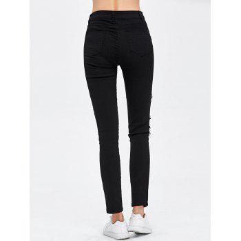 Destroyed Bodycon Jeans - BLACK BLACK