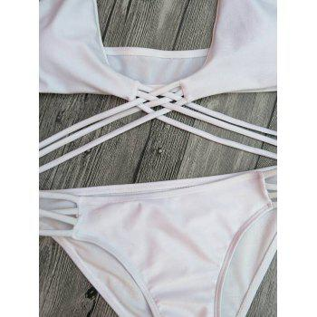 Halter Strappy Lace-Up Cutout Bikini Set - WHITE M