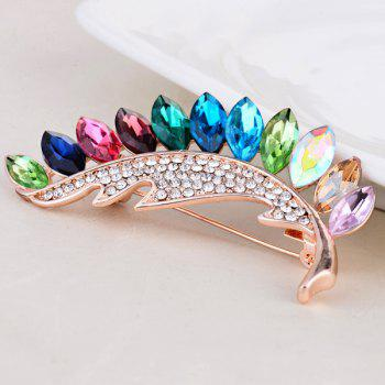 Colorful Faux Crystal Leaf Shape Brooch - COLORFUL