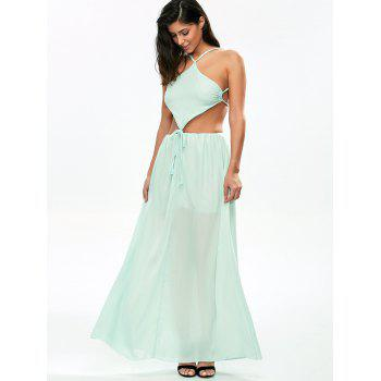 Chiffon Strappy Backless Maxi Dress - LIGHT GREEN L