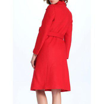 Belted Double Breasted Coat with Pockets - RED L