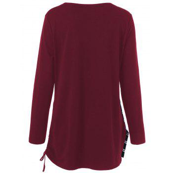 Plus Size Cowl Neck Striped Tunic T-Shirt - DEEP RED XL