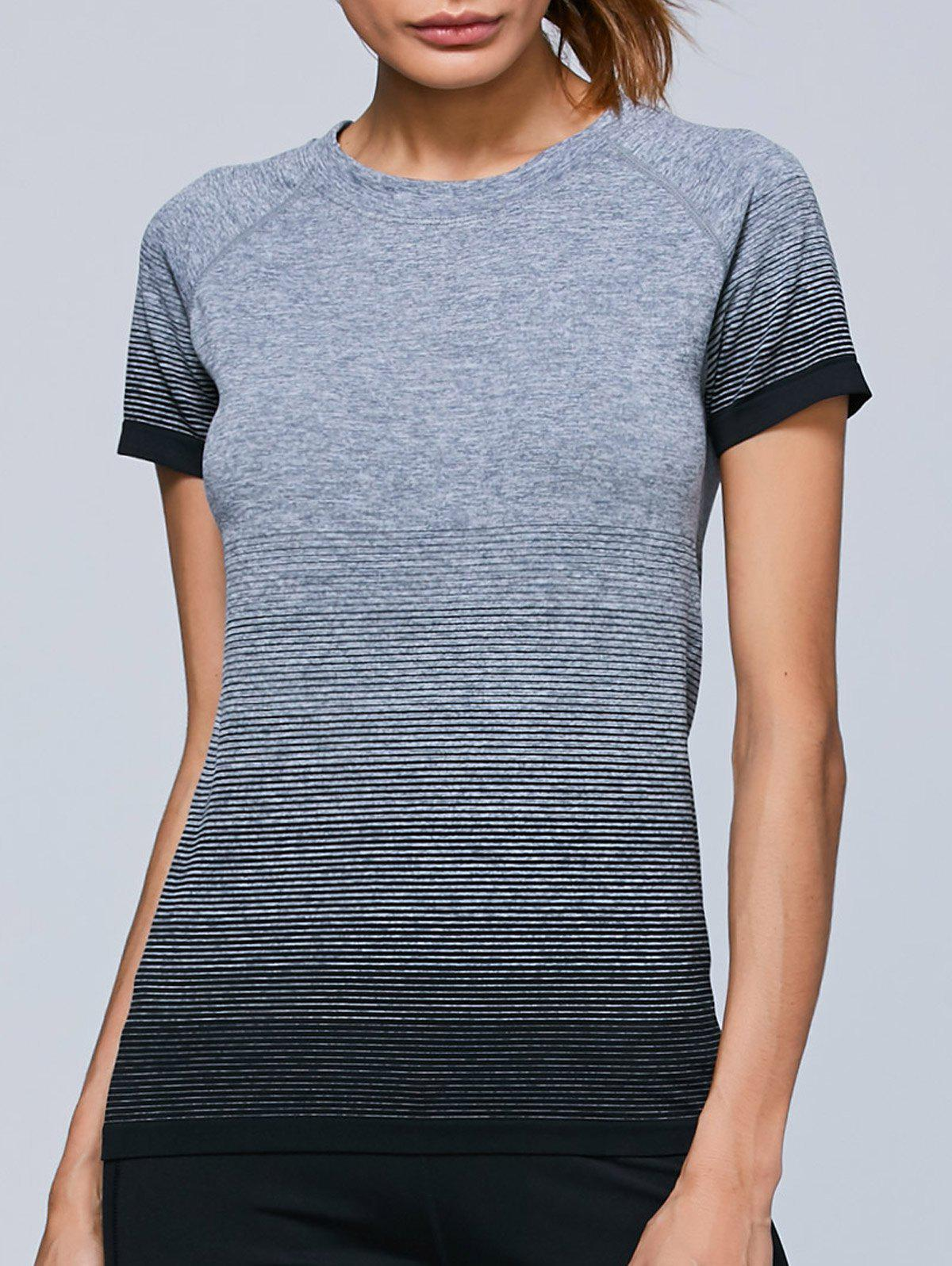 Ombre Raglan Sleeves Sporty T-ShirtWomen<br><br><br>Size: L<br>Color: GRAY