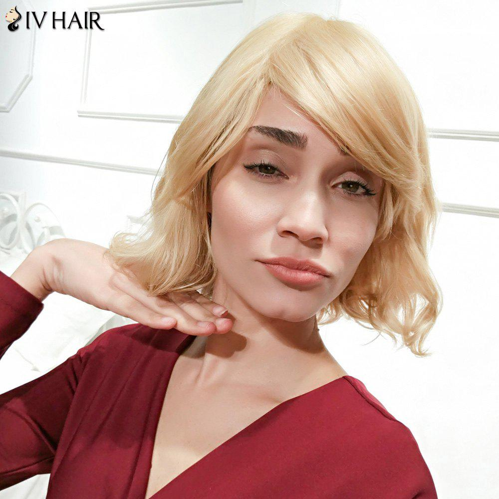 Buy Siv Hair Short Side Parting Curly Bob Human Wig BLONDE
